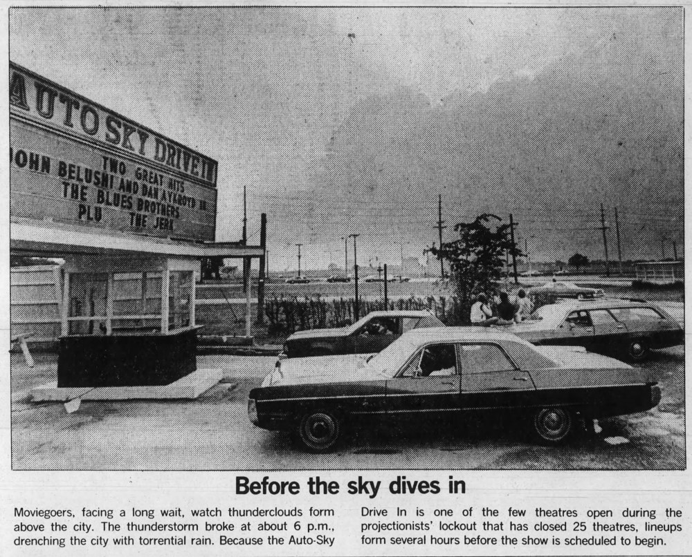 Motorists at a drive-in open during the 1980 projectionist's strike when  The Empire Strikes Back  opened.