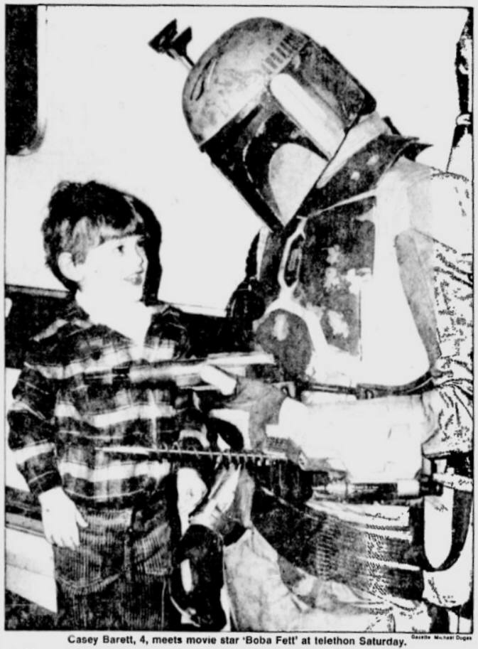 """Movie star"" Boba Fett appears at a telethon -  Montreal Gazette  (February 26th, 1979)"