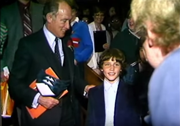 Prime Minister Pierre Trudeau and his 11 year old son (and current Prime Minister) Justin exit a special preview screening of  Return of the Jedi  at the Somerset Theatre.
