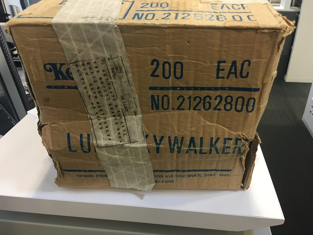 Shipping box of vintage Kenner action figures from the Westgate - Photo courtesy of Chris Fawcett