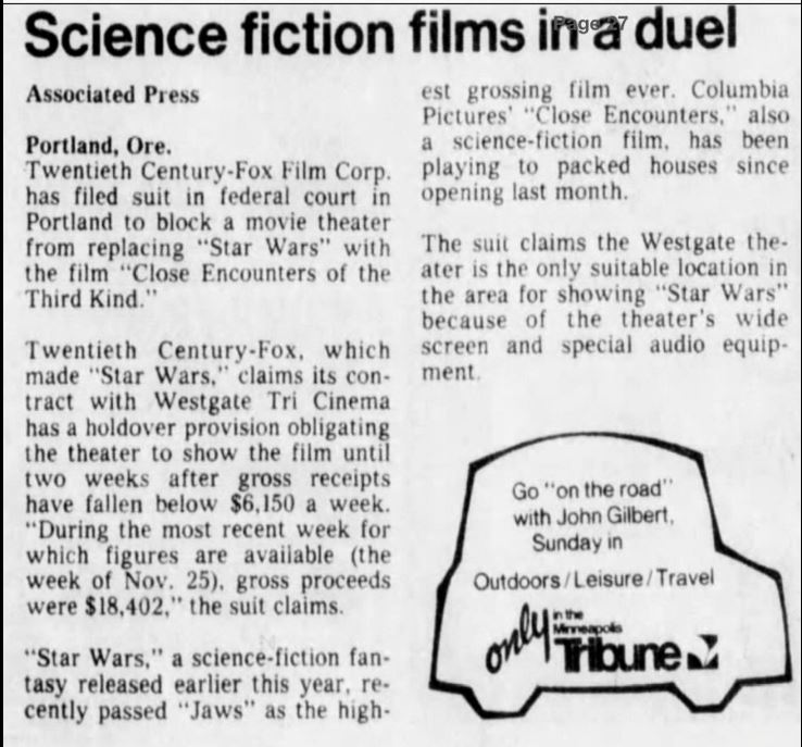 Associated Press article on the  Close Encounters  v.  Star Wars  Lawsuit (December, 1977)- Image courtesy of Michael Coate