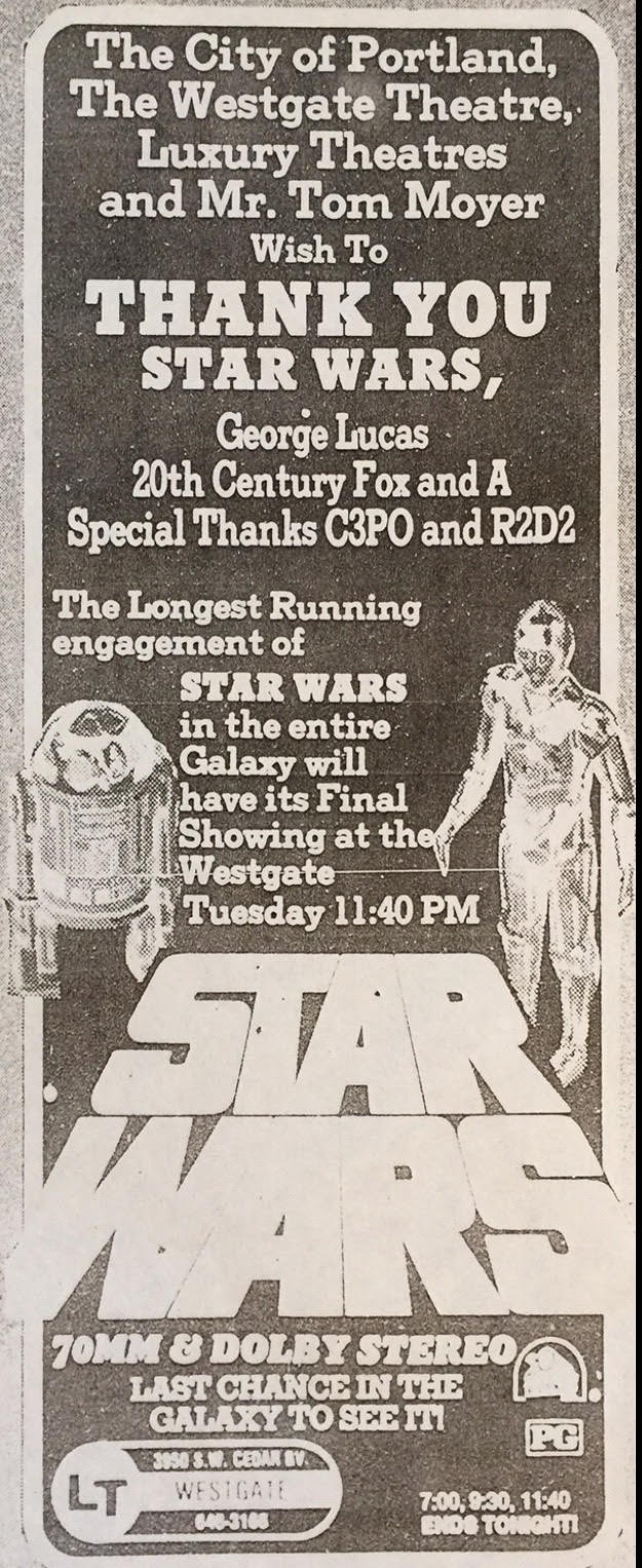 Westgate Thank You Ad/Final Screening Announcment with a Special Thanks to 3PO and R2 in Kenner toy form(November, 1978) - Image courtesy of Michael Coate