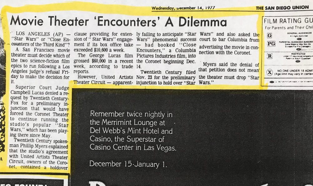 Star Wars  v.  Close Encounters  at the Coronet in San Francisco, San Diego Union Tribunte (December 14th, 1977) - Image courtesy of Michael Coate