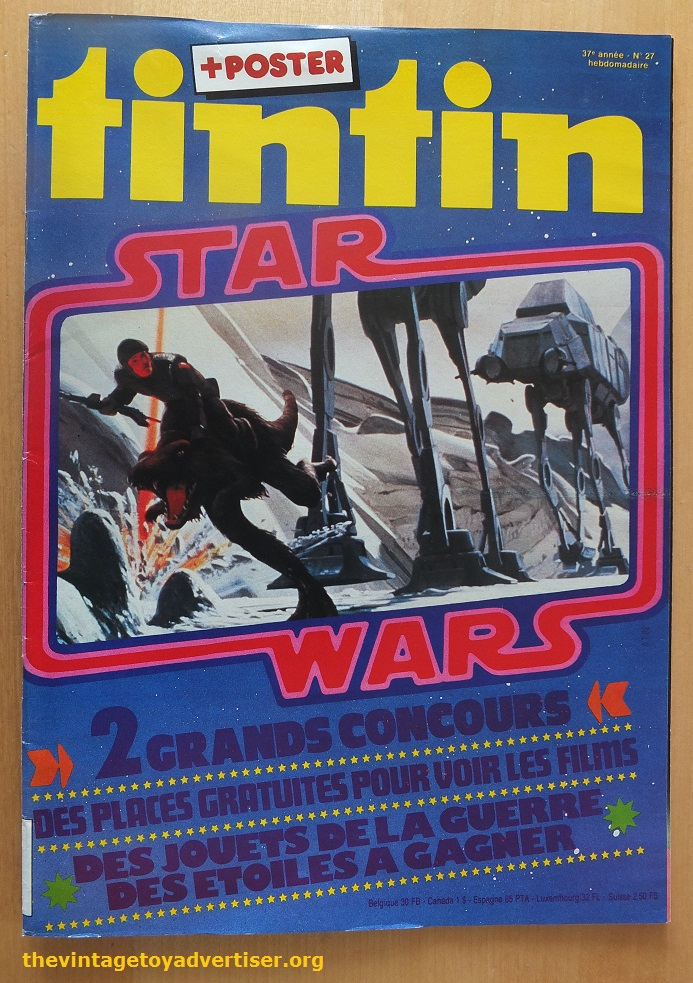 Tintin Issue No. 27 featured two Star Wars contests. One offered winners a pair of tickets to a screening of  Star Wars  or  The Empire Strikes Back , while the other offered a selection of Kenner toys as prizes - via TheVintageToyAdvertiser.org