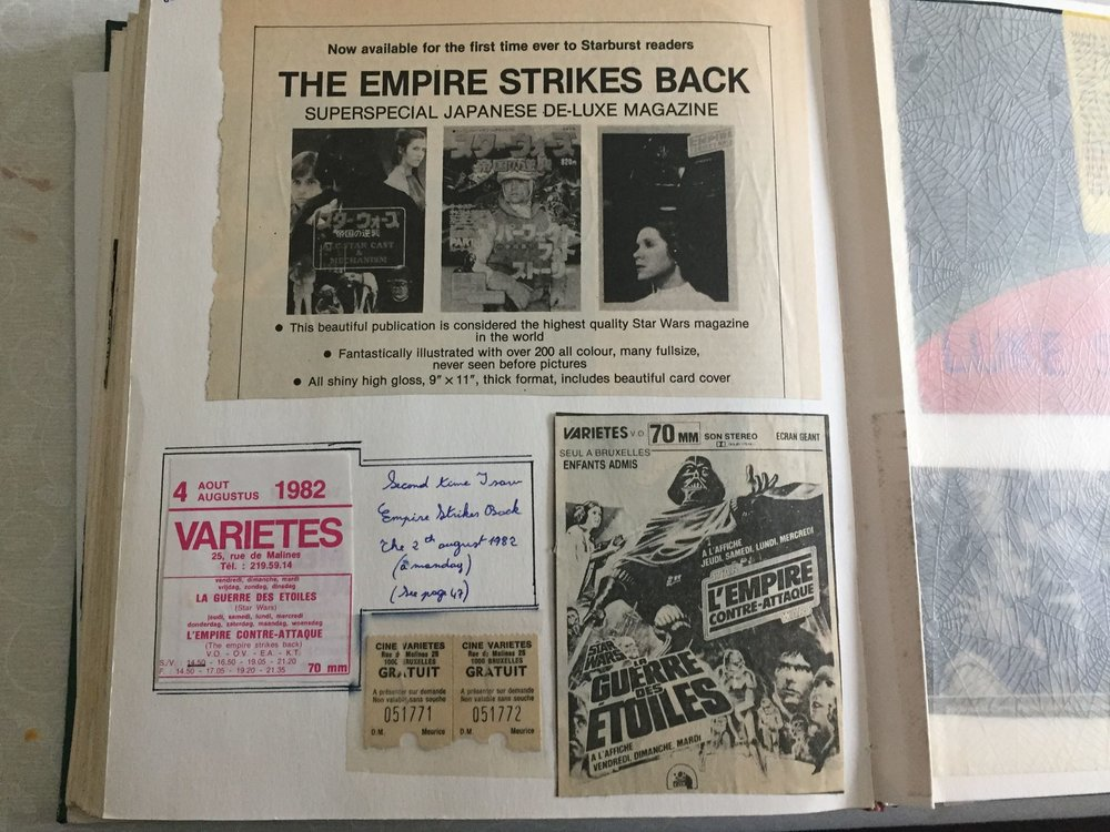 Zia's  Tintin  prize-winning tickets for  The Empire Strikes Back  at the Variétés