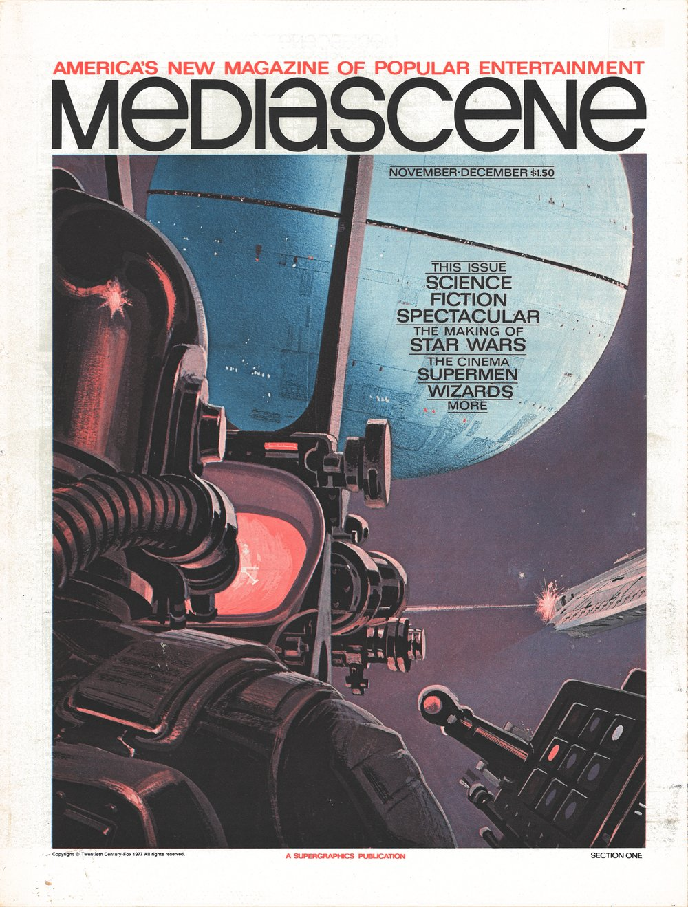 The November-December 1976 issue of  Mediascene  was the first magazine to feature  Star Wars  on the cover, though it apparently went to print late and was not distributed to subscribers until early 1977.