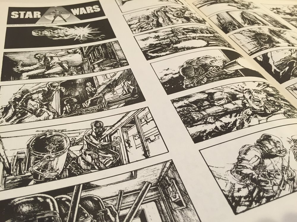 "A brief description accompanies the spread of panels: ""STAR WARS – it began with the tyranny of the Empire and the profane misuse of power. It spread among the space pioneers, the common colonists, the world builders, into a full-scale revolution. It exploded into a galactic Armageddon that would reshape the destiny of the universe. The opening sequence of George Lucas'  Star Wars  sets the pace for the film with the abduction of Princess Organa by Empire troopers."""