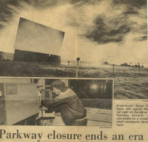 The Parkway Drive-In closes in 1986 - via Drive-Ins.com