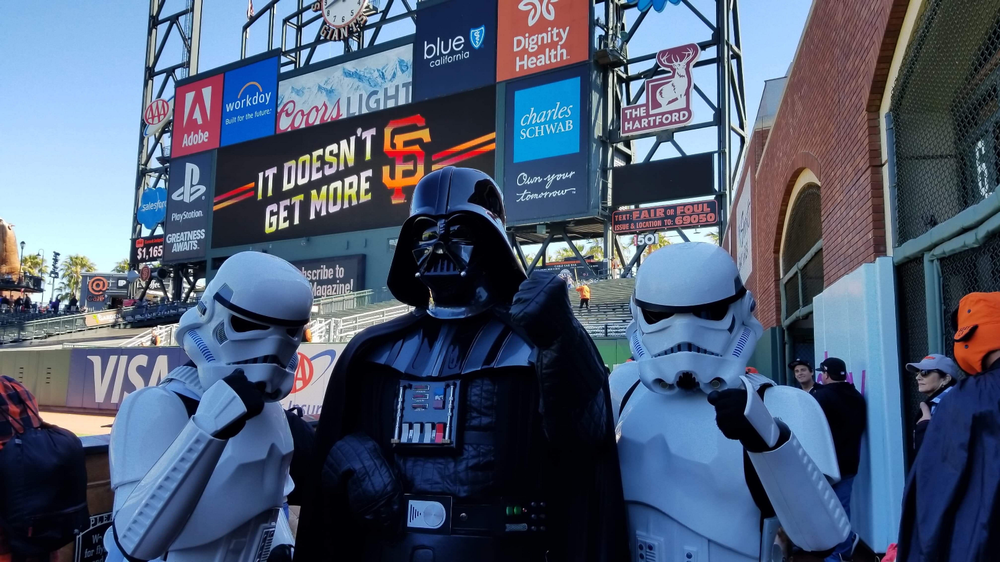 Dwayne Smith as Darth Vader at the San Francisco Giants Star Wars Day.