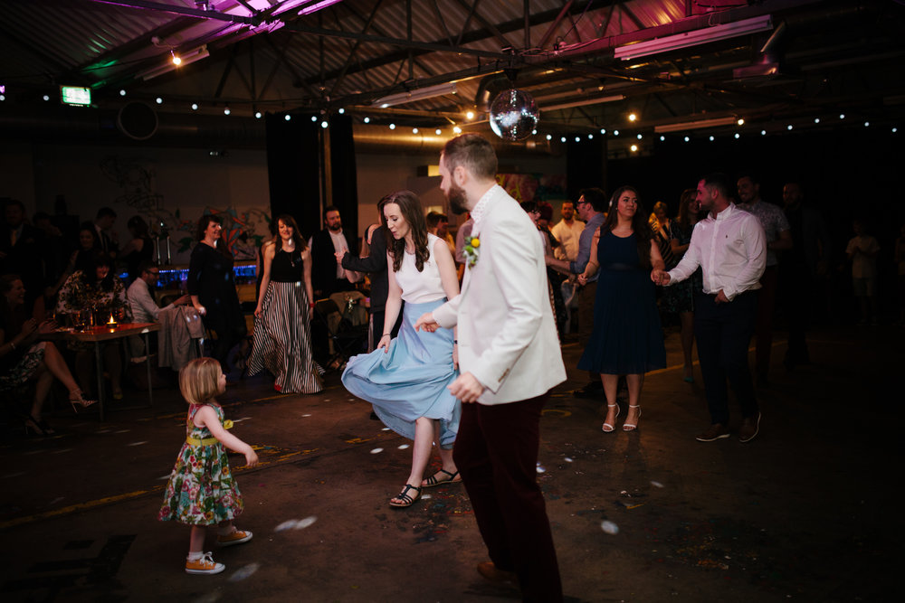 alternative-glasgow-wedding-drygate-nick-bruce-and-his-blinding-lights-caro-weiss-neatly-wrapped-first-dance