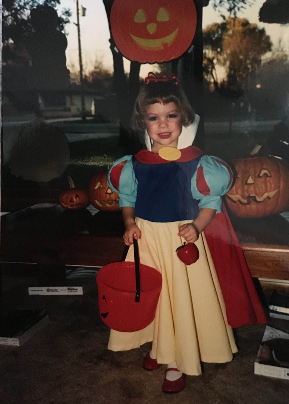 I have no idea how my mom made those puff sleeves, but boy...that took talent! Side note, I also think I cut my own bangs...