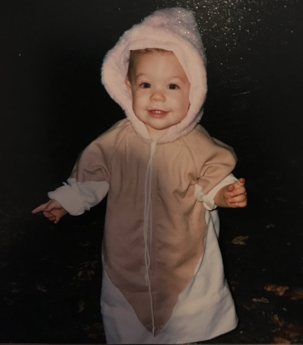 My very first Halloween...I was a Strawberry Ice Cream Cone! For those who know me...this is very fitting!