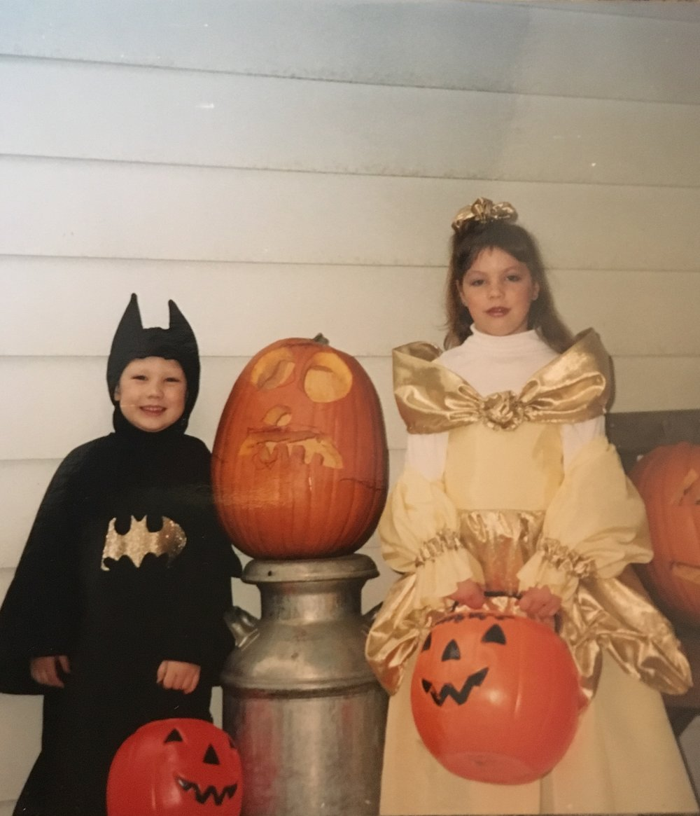 This right here is by far my favorite Halloween costume! I was Belle from Beauty and the Beast and of course my brother was Batman! I always did love a good Disney Princess!