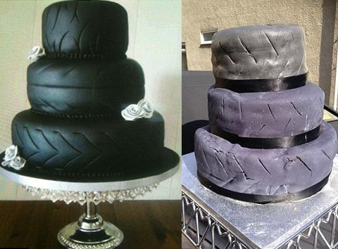 When a bride ordered a tire wedding cake, she walked into the reception to find this cake waiting for her...full article  here
