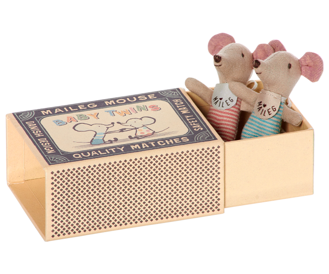 Maileg - Twin Baby Mice in Matchbox