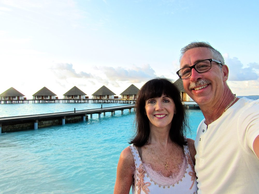 Rick and I on our 30th anniversary in the Maldives Islands. We found paradise on earth.