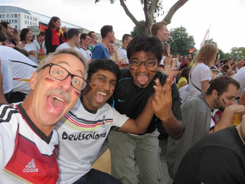 Rick, Ram, and Shahfir celebrating Deutschland's World Cup victory.