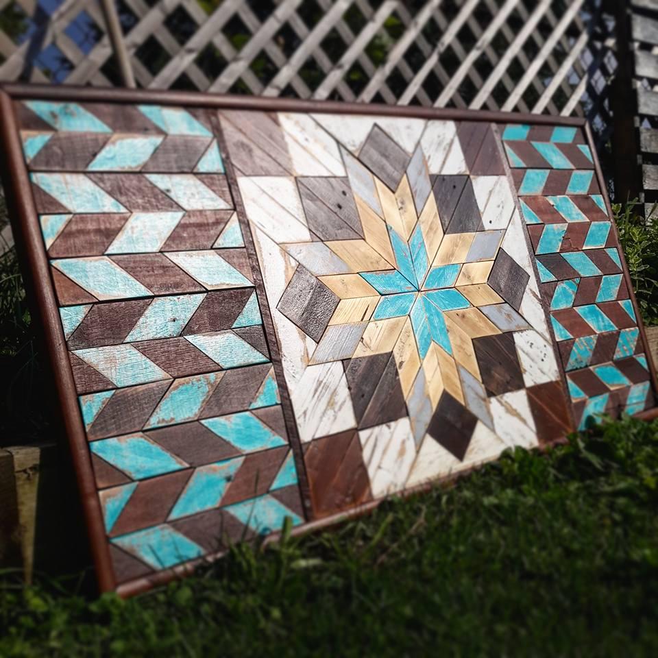 Pop of Color Reclaimed wood art.