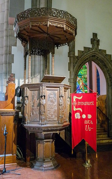 Emmanuel's ornamental wooden pulpit.