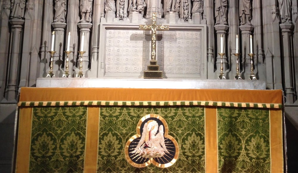 The green frontal on Emmanuel's high altar