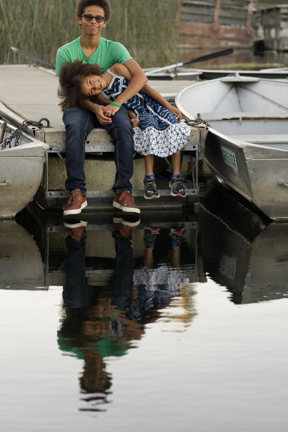 brother and sister water reflection-Lafayette family photo
