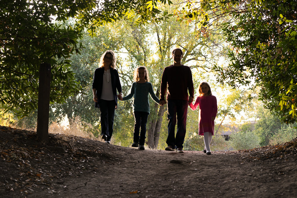 family of four walking in the park-San Ramon lifestyle photography