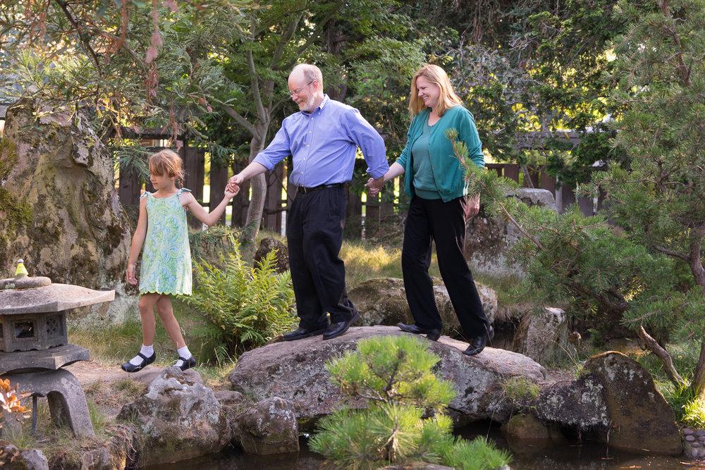 family of three at lake merritt gardens - Oakland family photographer
