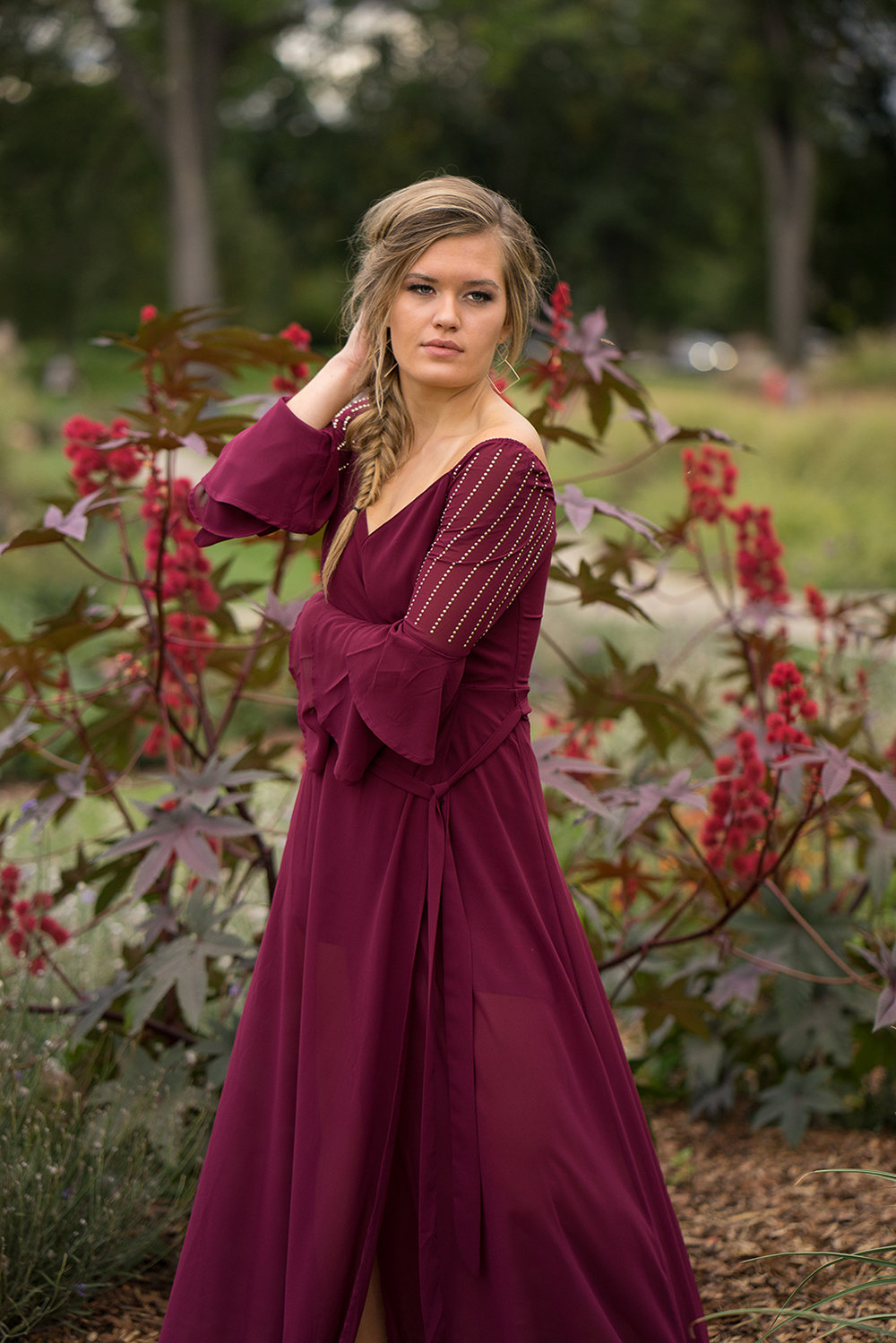 teen girl in garden - Danville senior portrait photographer