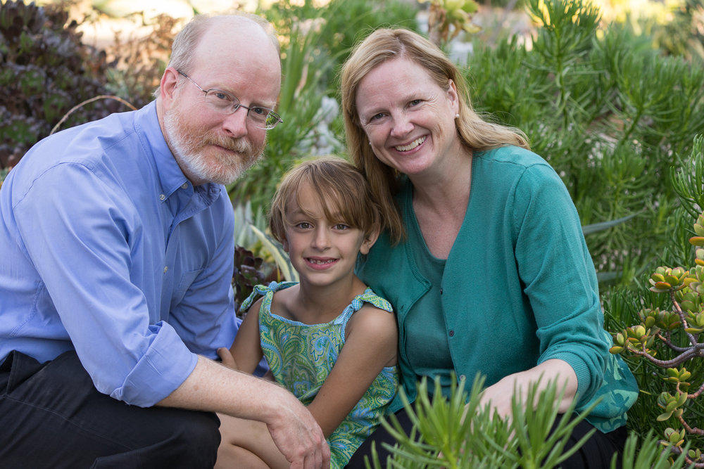 family of three in gardens - Oakland portraits