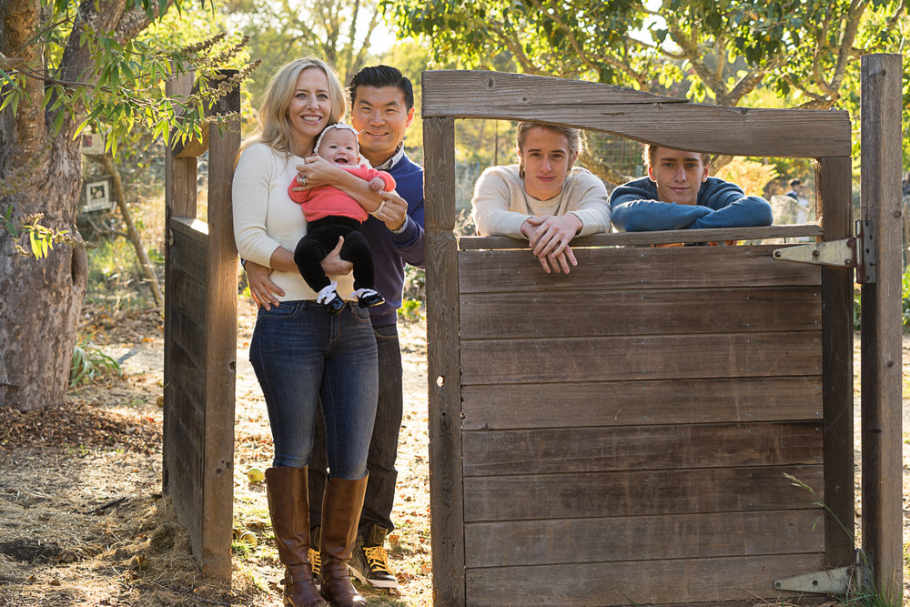family of five in the gardens - San Ramon portrait photographer