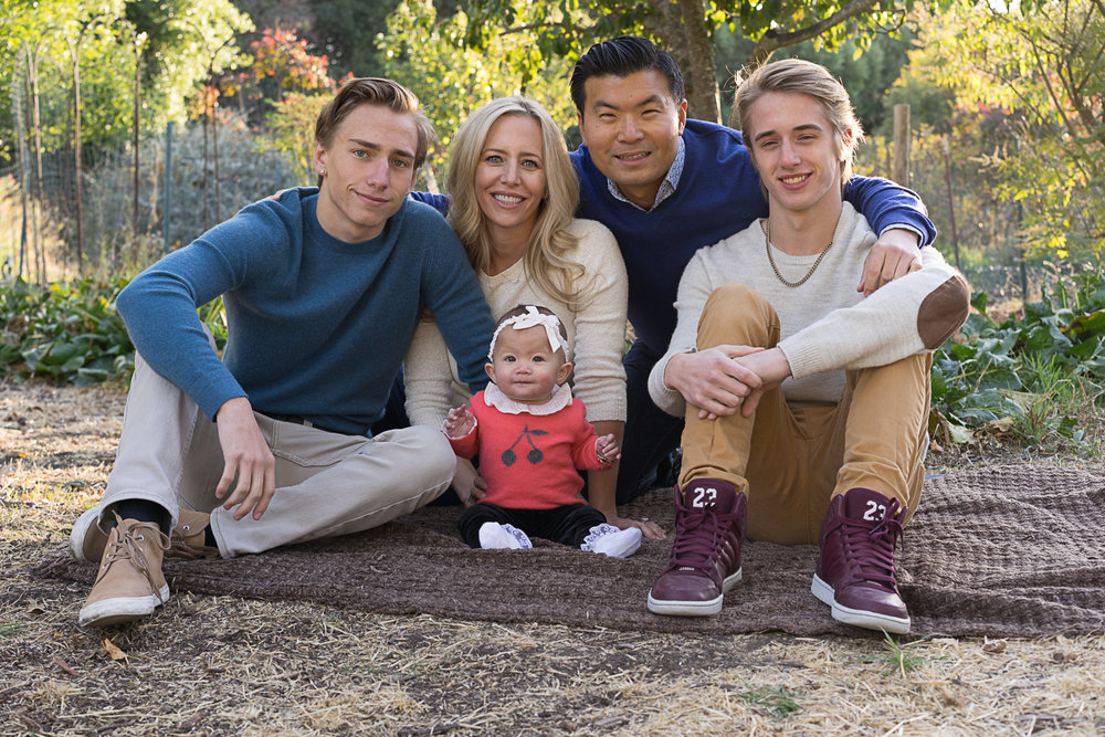 family of five sitting in garden - San Ramon portraits