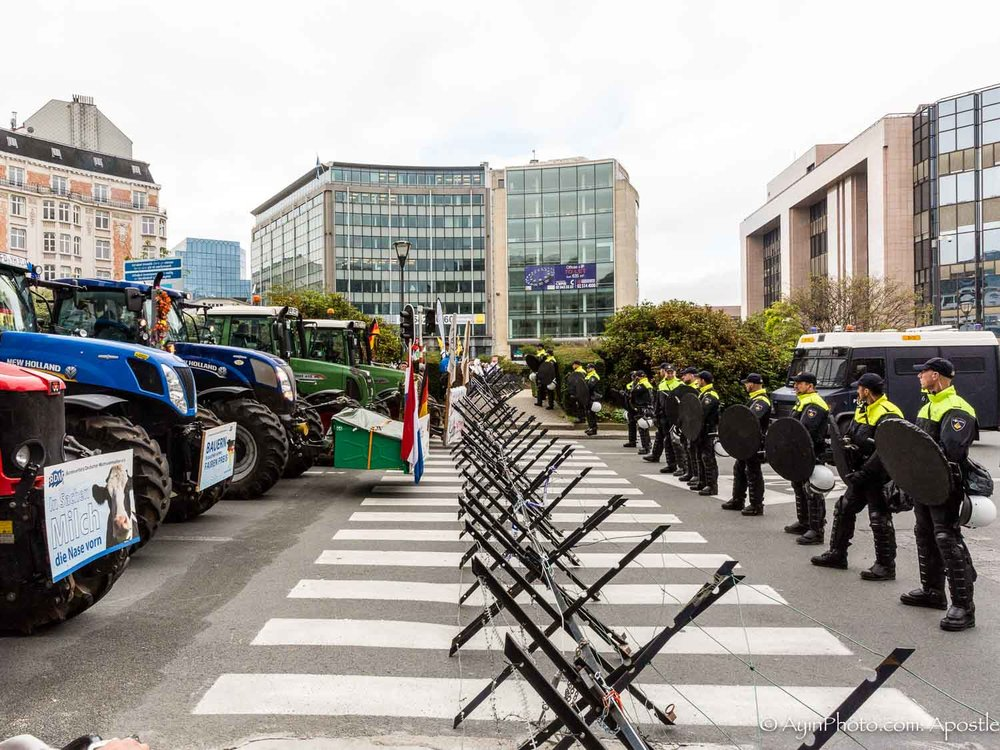 European farmers demonstration at EU HQ