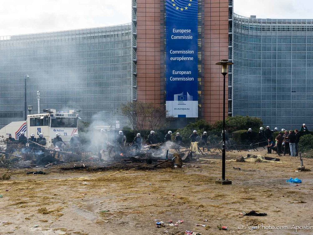 European Farmers Set Fire at EU HQ