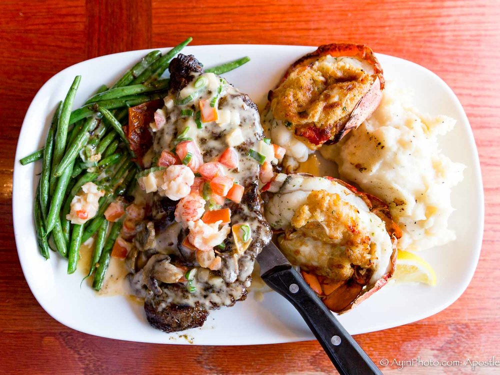 Steak with Lobster, Potatoes & String Beans