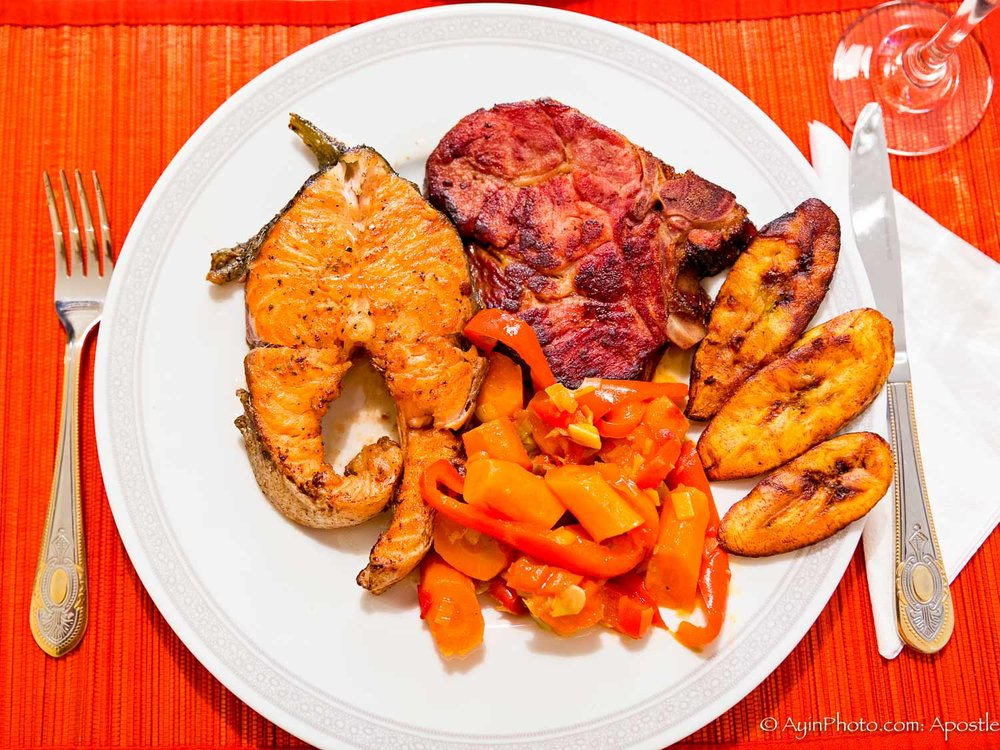 African - Gabon Salmon & Pork Chops Plantins
