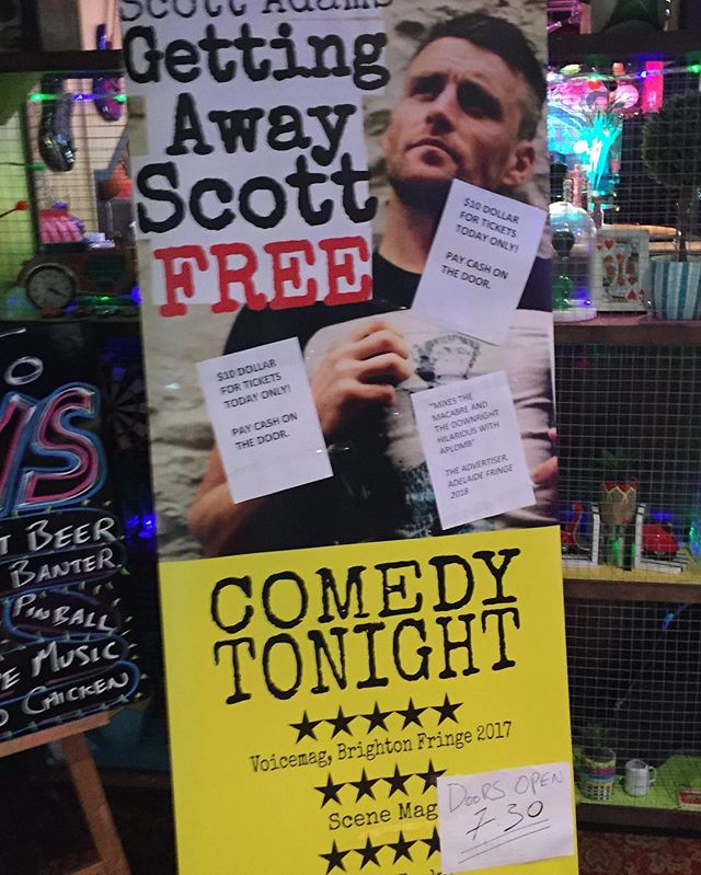See if you can spot my terrible, doctors' handwriting on this banner? @nzfringe #Leroysbar #wellington #gettingawayscottfree #fringecomedy #standupcomedy #standup #comedy #newzealand