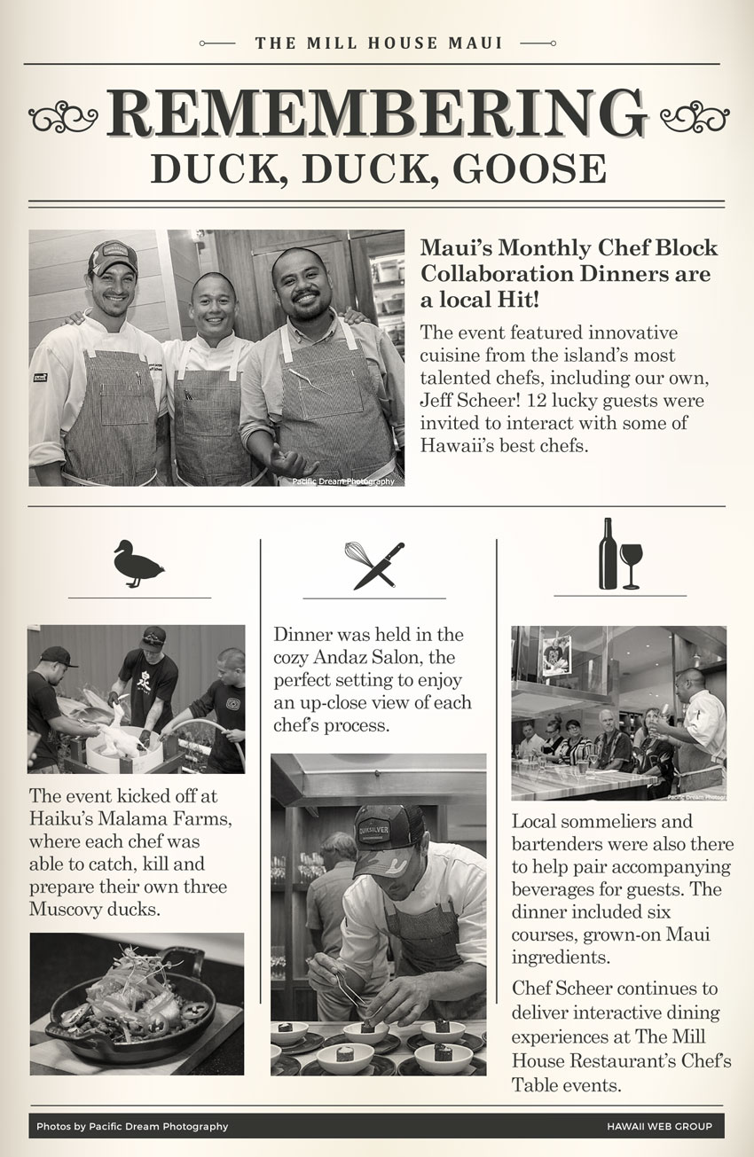 Maui's Monthly Chef Block Duck Duck Goose Event infographic