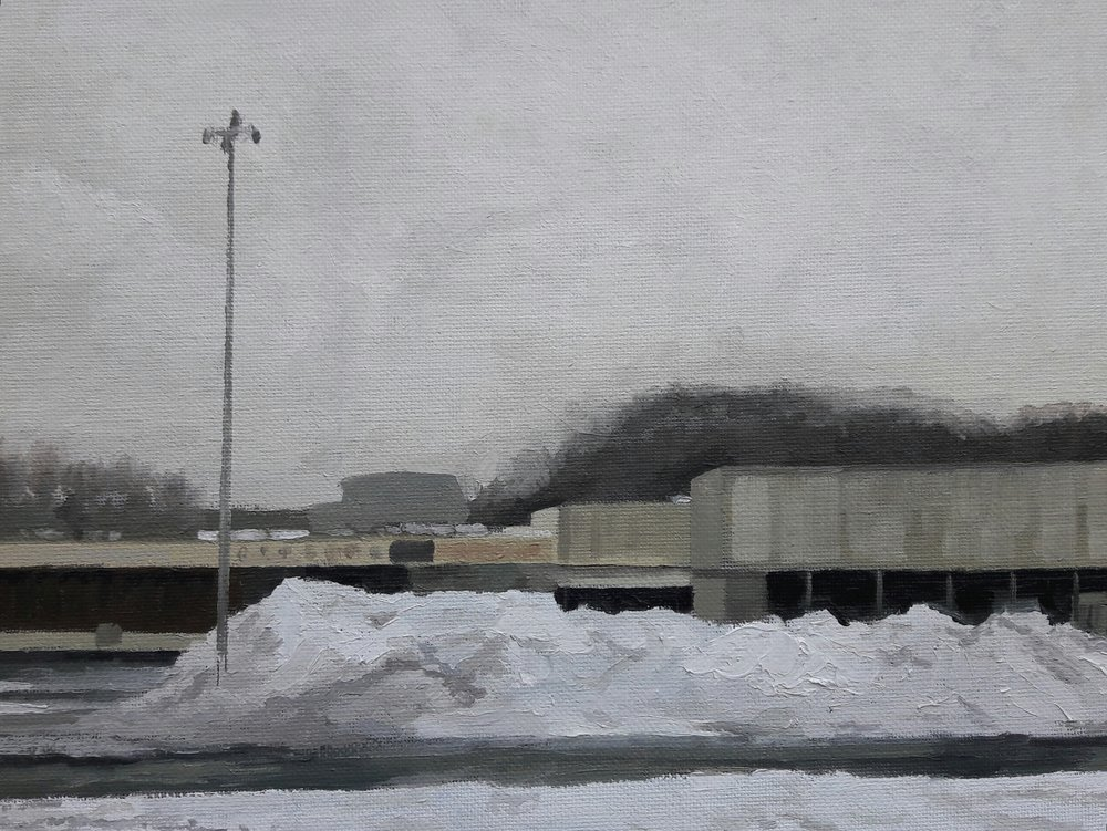 Ray Larrow's paintings depict his personal experience in the city, such as this painting of a building that once housed a ShopRite he remembers from childhood.