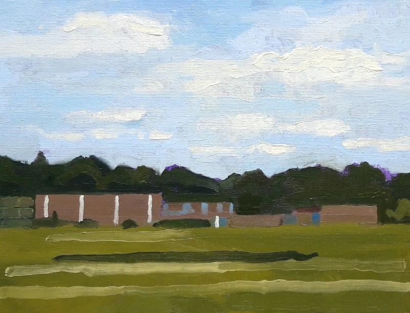 Ray Larrow likes to paint structures that Holyokers would recognize immediately, like the outline of William R. Peck School seen here.