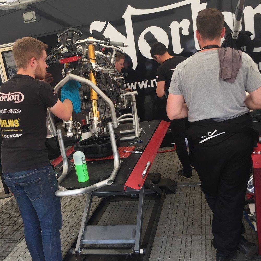 The Norton crew working on their V4 masterpiece.