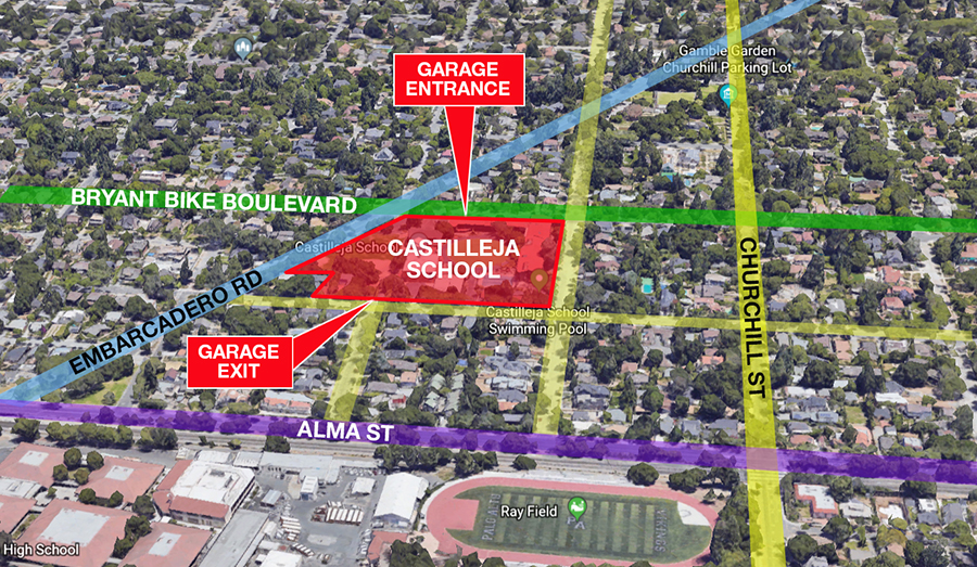 Castilleja plans to remove mature redwoods and oaks, along with two single family residences, on Emerson Street, leaving one house on the corner. The underground garage would have one entrance on Bryant Bike Boulevard (already dangerous for cyclists) and it would empty into the neighborhood at Melville Avenue. Motorists will avoid it and use side streets.  DOWNLOAD PDF »
