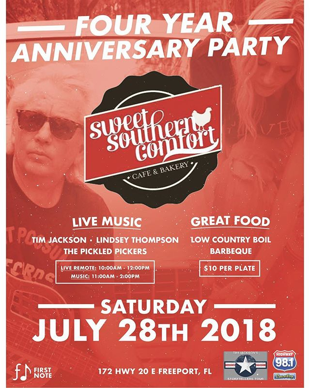 Sweet Southern Comfort's Four Year Anniversary Party happens this Saturday July 28th! Delicious low country boil and bbq from 11-3pm. Hwy 98.1 will be doing a remote from 10-12pm with @timjacksonsmusic and @lindseythompsonmusic playing from 11-12pm and then Pickled Pickers playing from 12-2pm. We'll see you there! 172 Hwy 20 E Freeport, Fl
