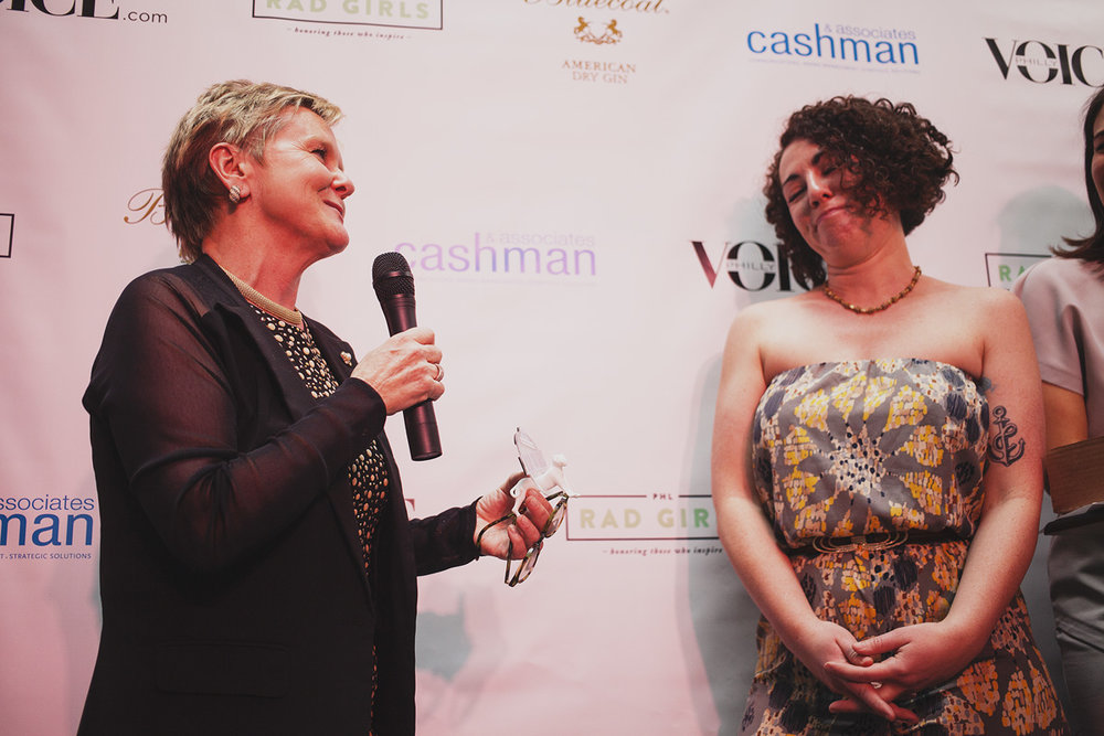 Educator of The Year Eileen R. Heisman accepts her Rad Award. April 18. 2015. The Dreaming Building. Chris Fascenelli/Rad-Girls.com.