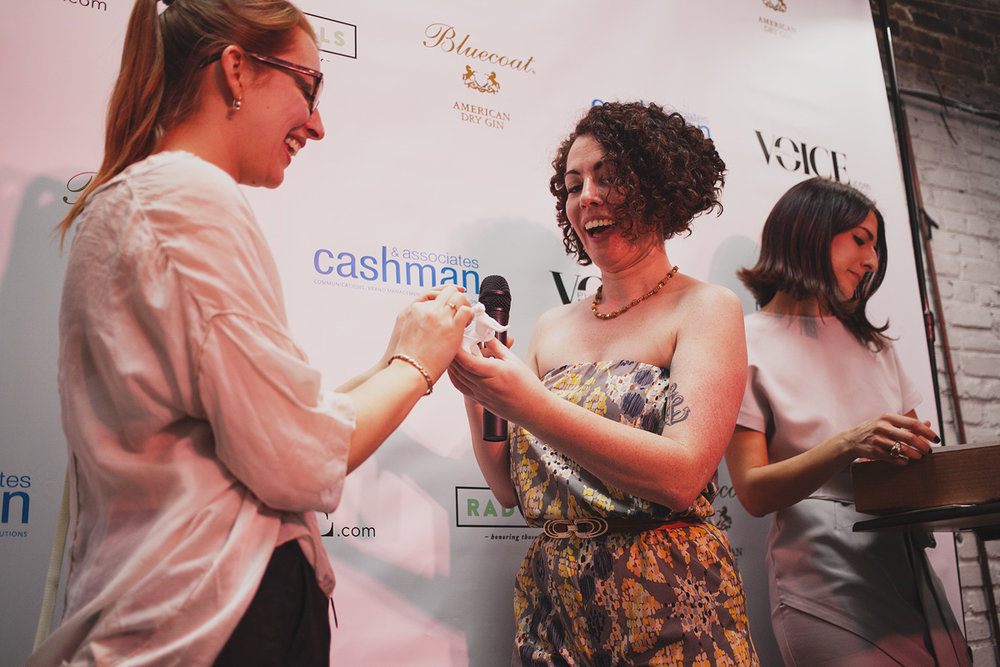 Morgan Berman of Milkcrate accepts an award for Rad Product of The Year. April 18. 2015. The Dreaming Building. Chris Fascenelli/Rad-Girls.com.