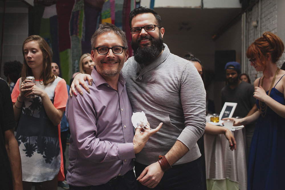Rad Guy of The Year Winner Chris Bartlett (left) stands next to presenter Rudy Flesher. April 18th, 2015. The Dreaming Building. Chris Fascenelli/Rad-Girls.com