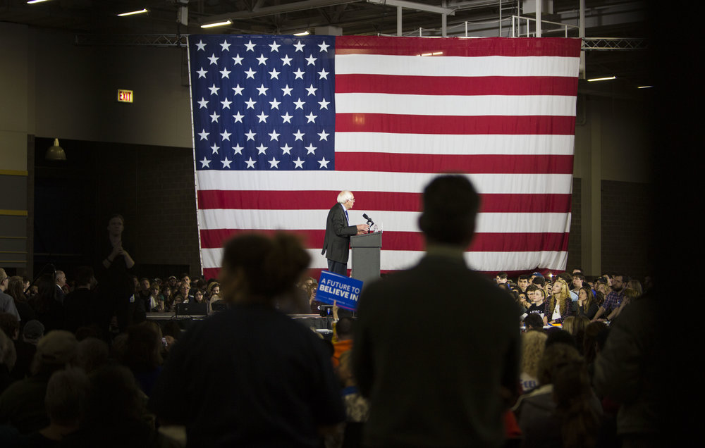 Democratic presidential candidate Bernie Sanders, speaks during a campaign rally on March 26, 2016 in Madison, WI.