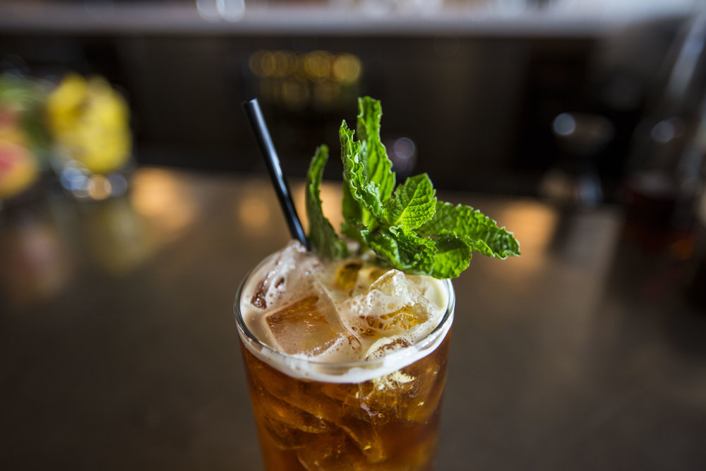Cadence Cold Brew, a brunch cocktail made with house spiced rum, lavender syrup, lemonade and Cadence cold brew coffee on March 26, 2016 in Madison, WI.