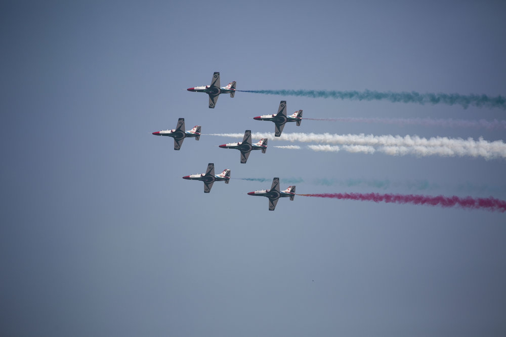 Pakistani jets perform aerobatic during Pakistan Day military parade on March 23, 2018 in Islamabad, Pakistan.