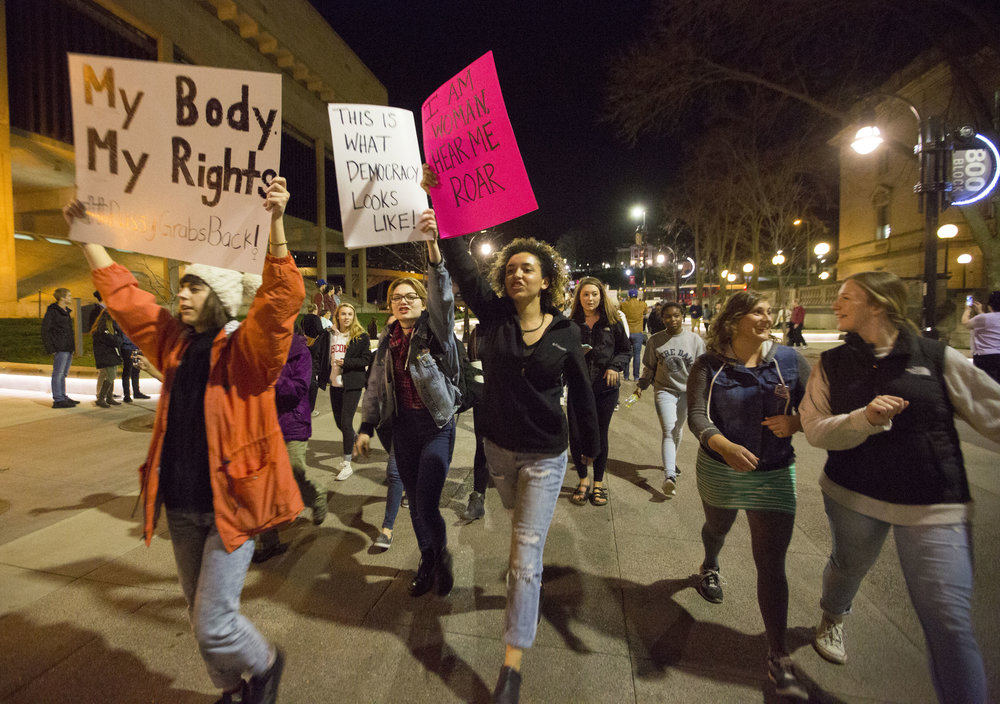 UW-Madison students take to the streets during an anti-Trump rally on Nov 10, 2016 in Madison, WI.