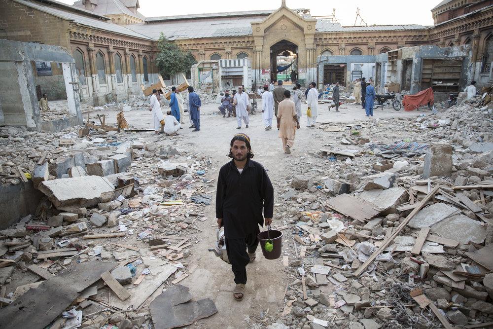 Empress market where shops were recently bulldozed as part of an anti-encroachment drive in Karachi, Pakistan, on Nov 22, 2018.
